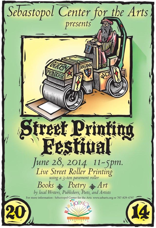 Bibliophoria 2014 Street Printing Festival Poster by Rik Olson