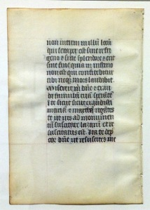 Hand-lettered manuscript page circa 1350 —collection of Rik Olson